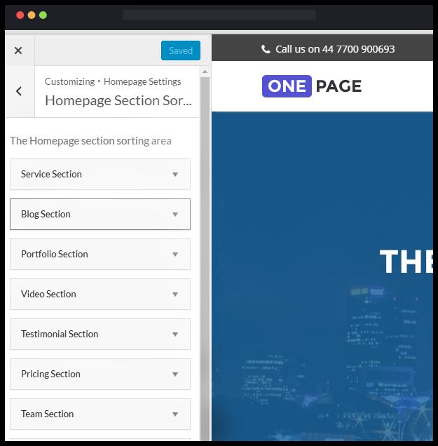 free one page wordpress theme