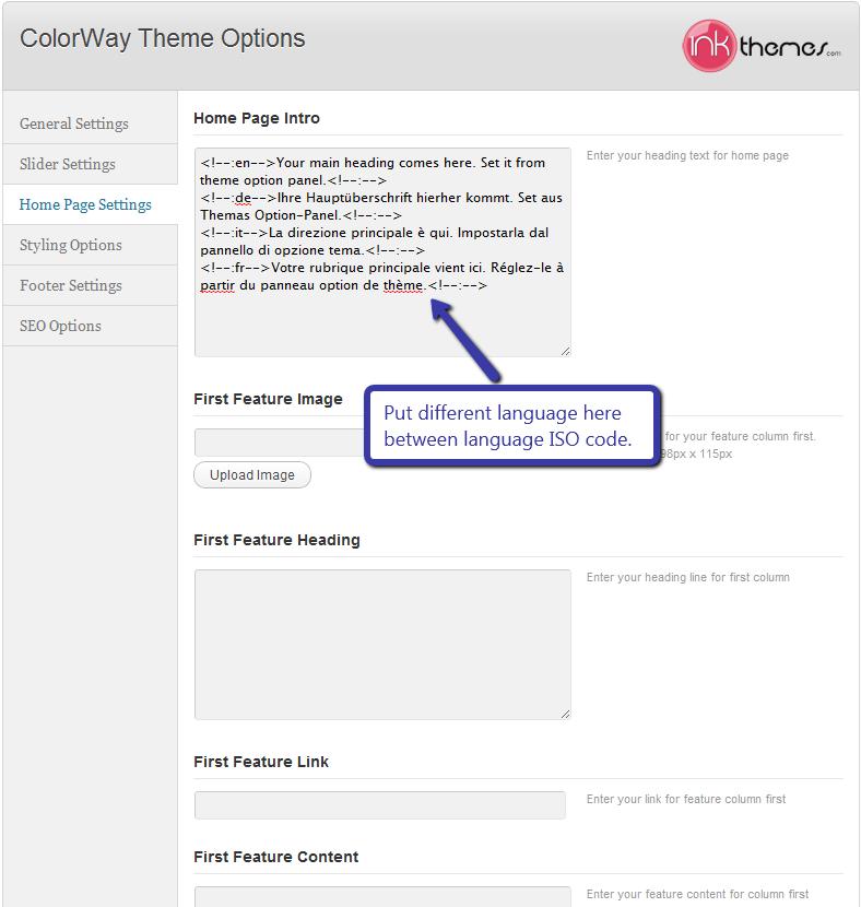 colorway theme option panel