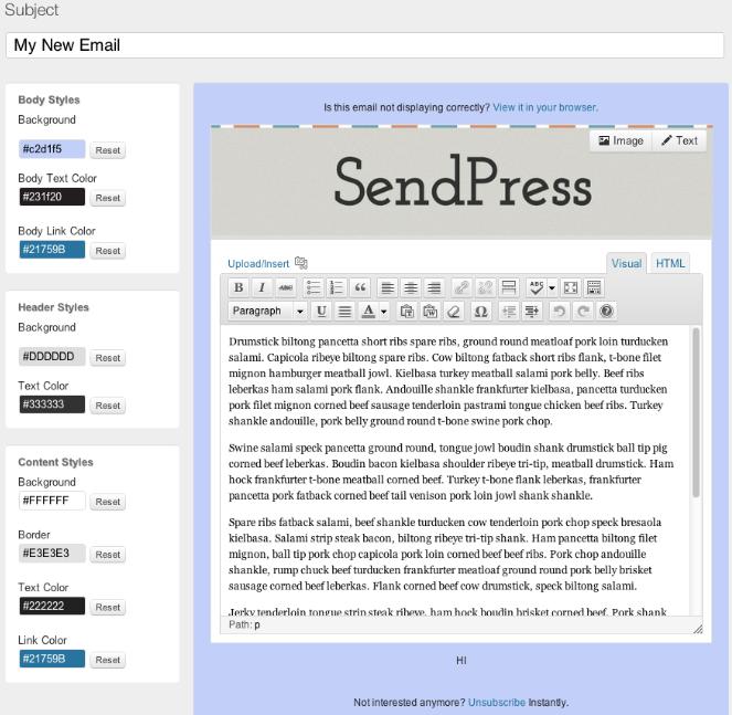 SendPress Newsletter create system Templates