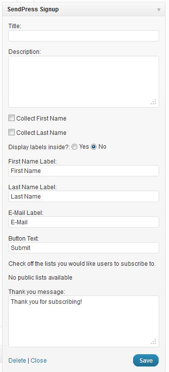 custom newsletter WordPress dashboard