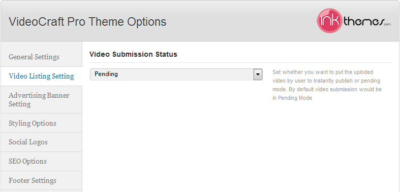 video listing setting