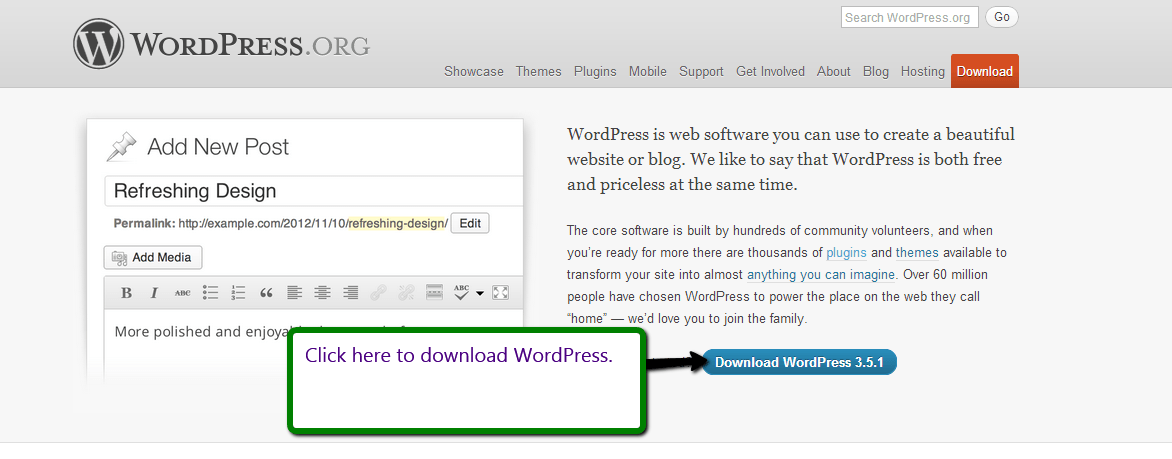 Downloading WordPress