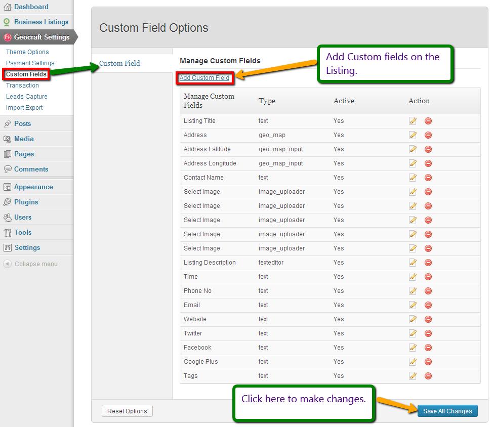 Custom fields in GeoCraft
