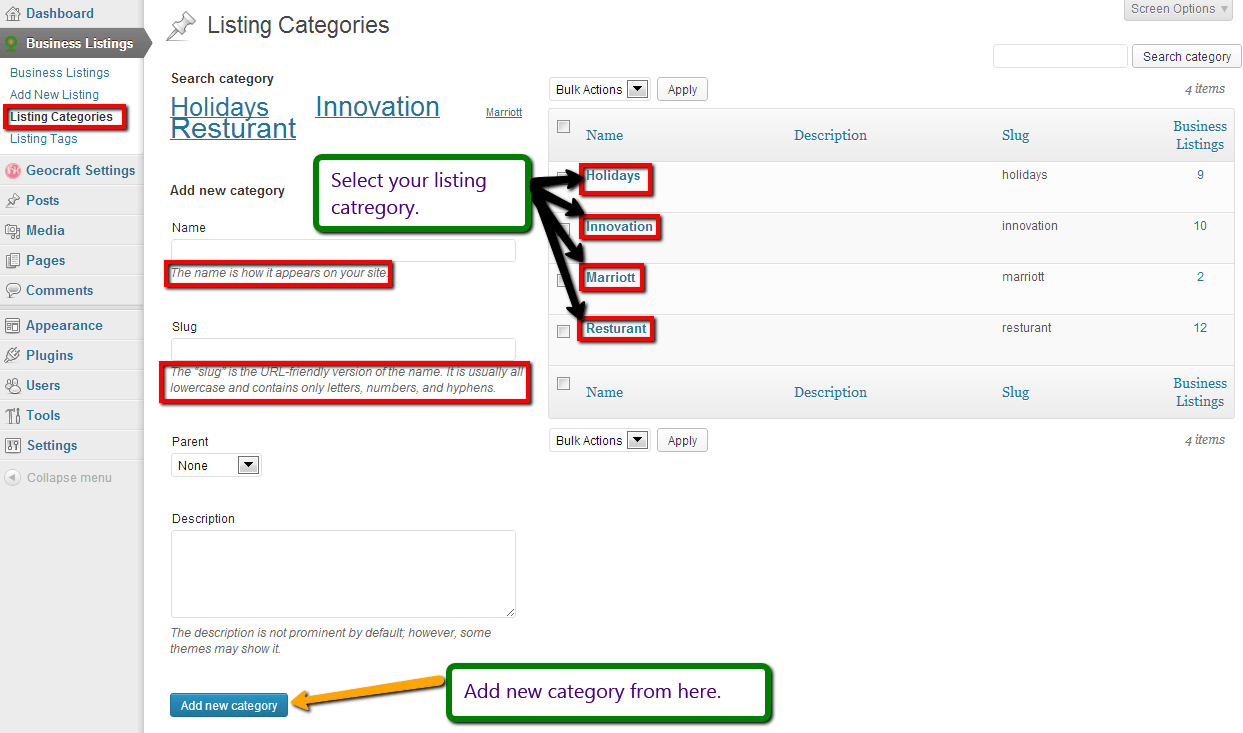 Directory Listing Categories customization