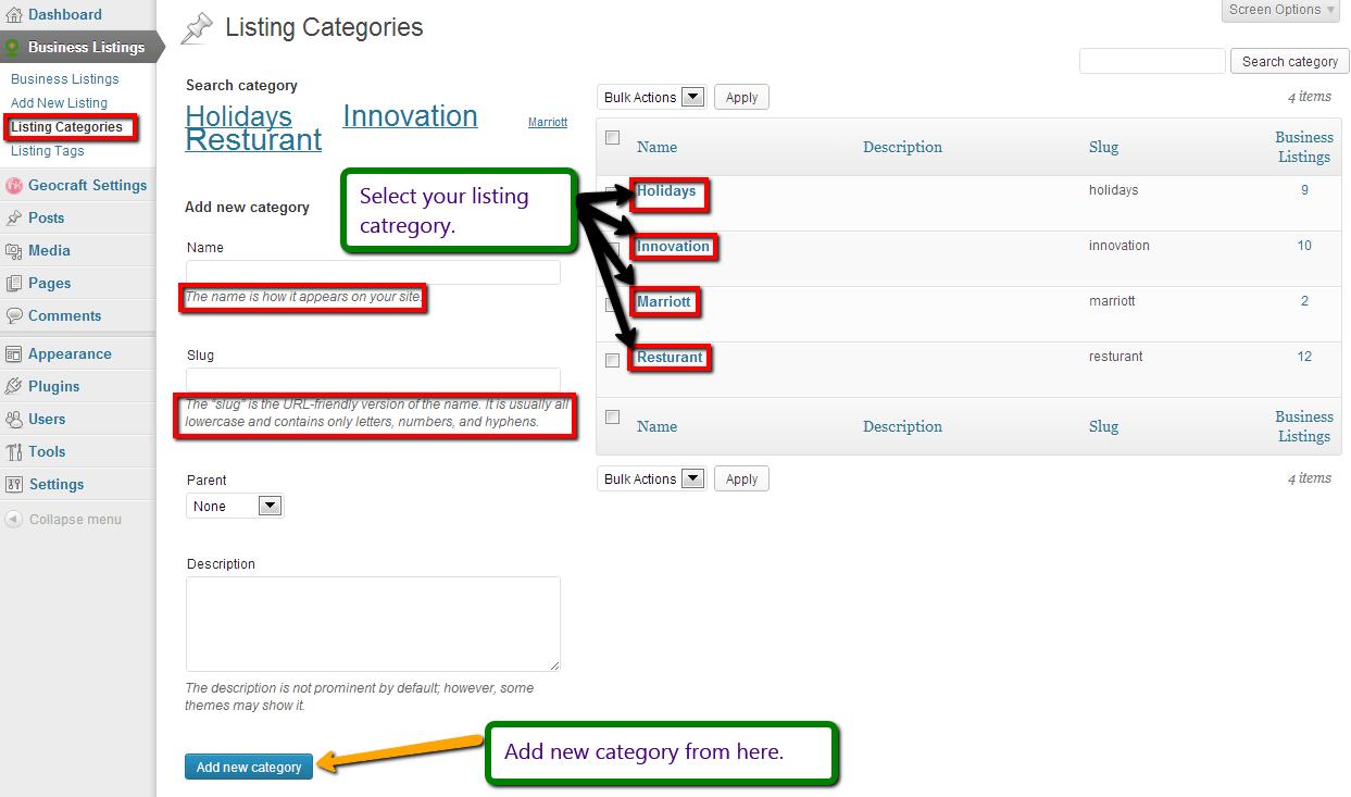 Directory Listing Categories customization