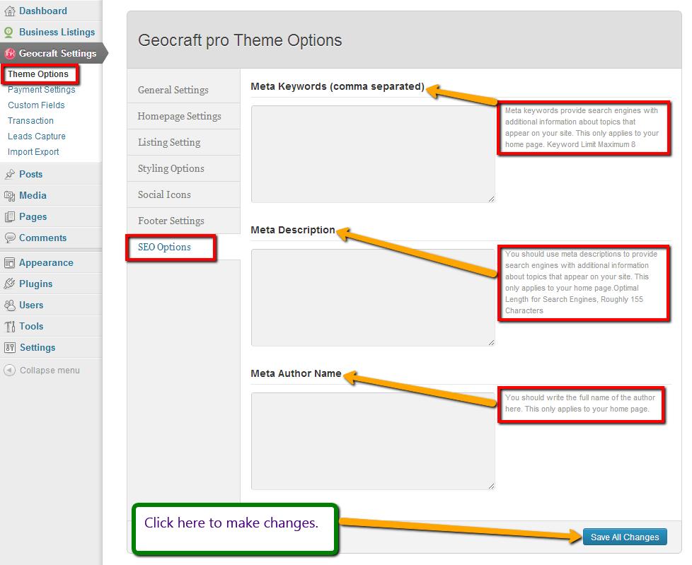 SEO options customization