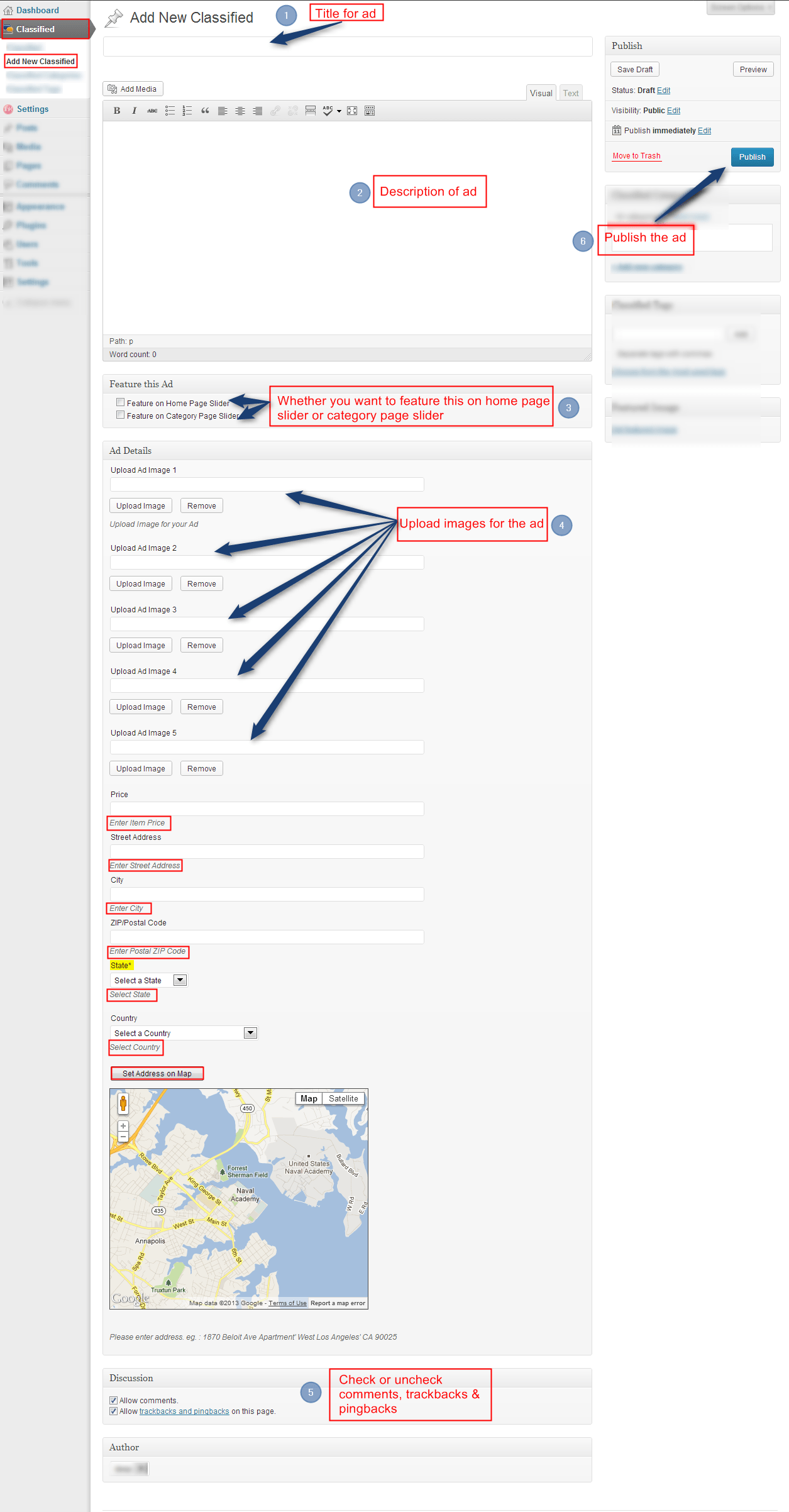Adding ad from back end