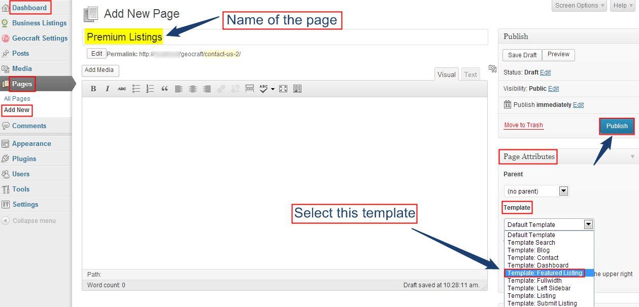 Create Premium Listing Page