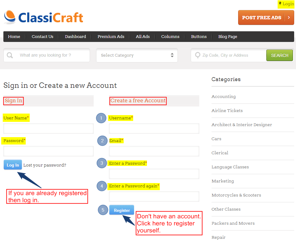 User registration module in ClassiCraft