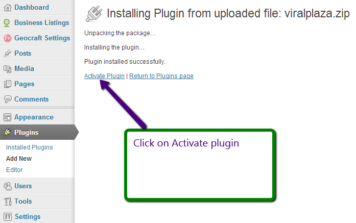 Activating the plugin