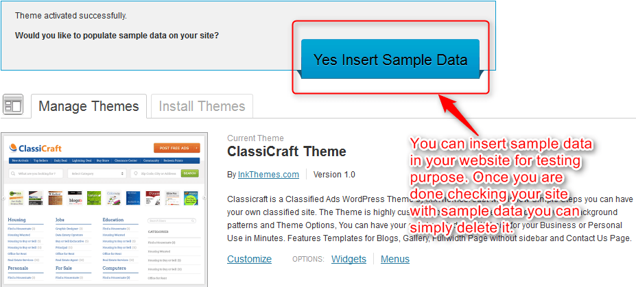 insert sample data option