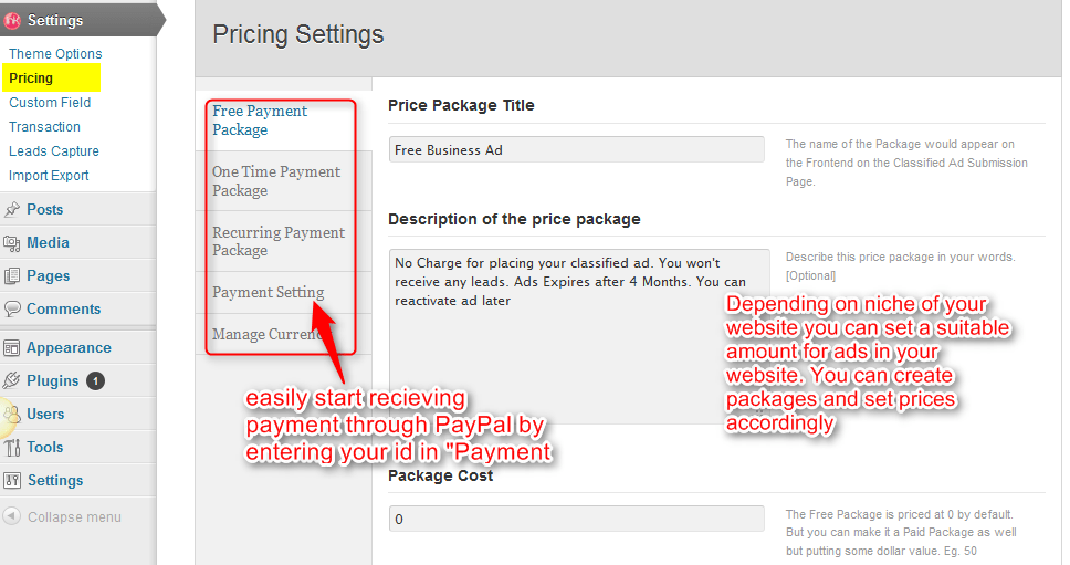 pricing settings