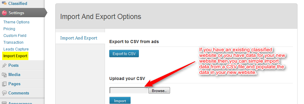 import export option
