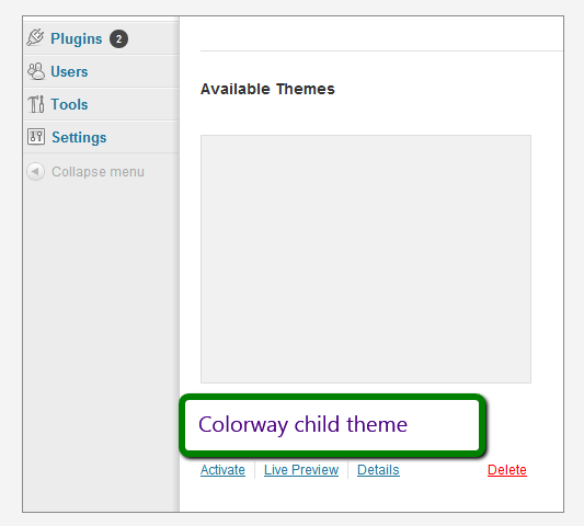Colorway child theme