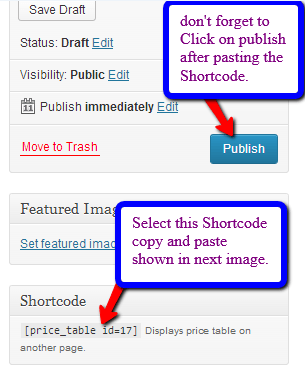 pricing table custom shortcode