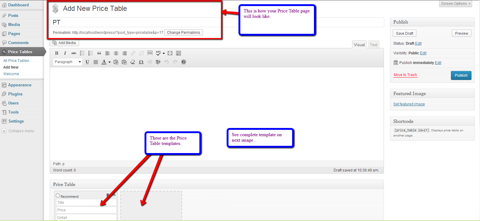 Custom price table wordpress plugin display product for Table design wordpress plugin