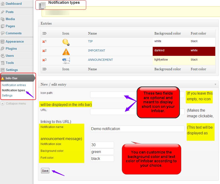 Infobar creating notification