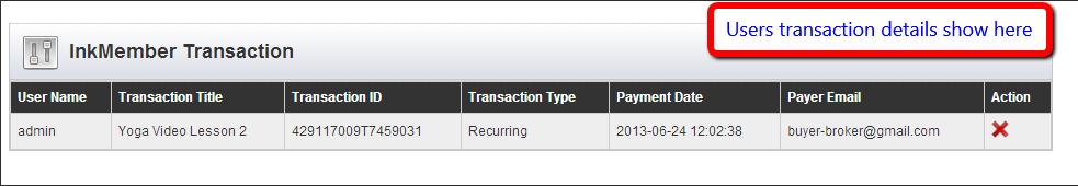 InkMember transaction detail