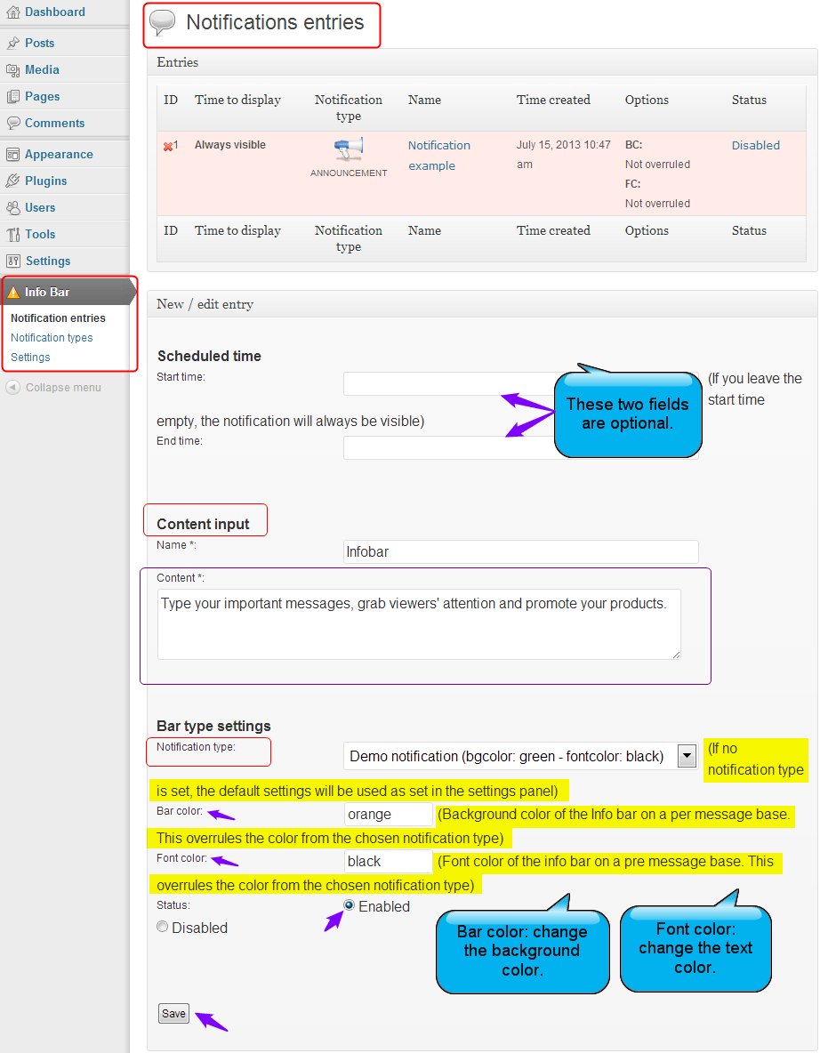 Notification entries of Infobar