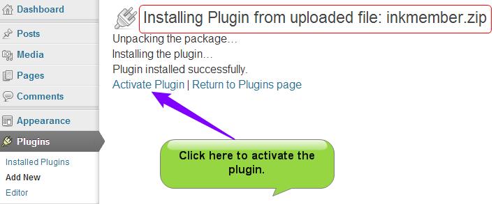 InkMember plugin actiavte