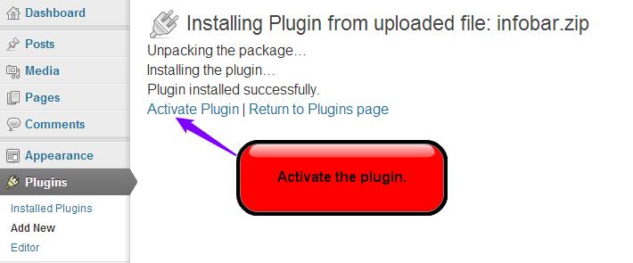 activate the Infobar lugin