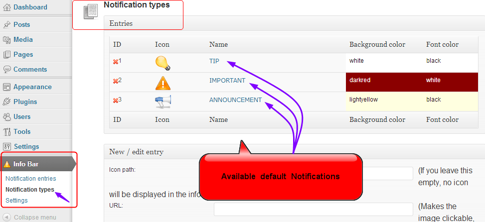 Infobar default notification