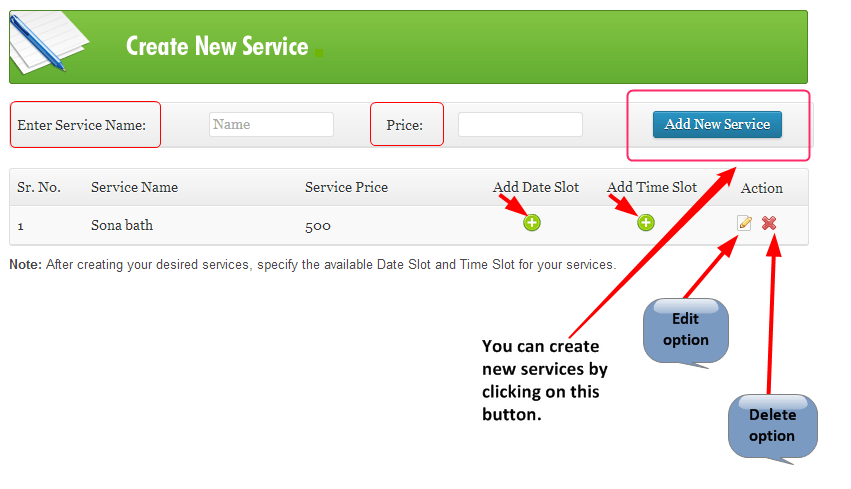 ink appointment create service