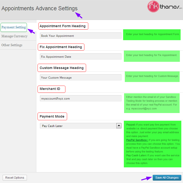 ink appointment payment setting