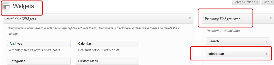 infobar widget area