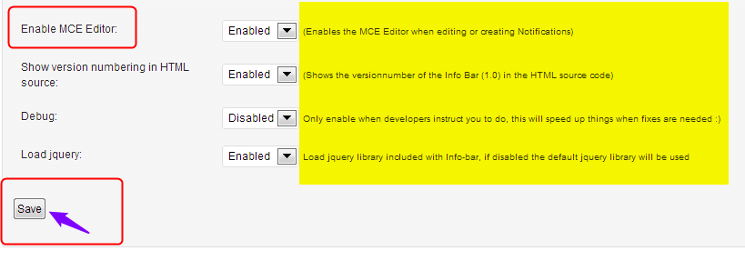 Infobar enable MCE editor
