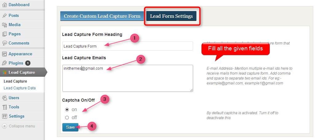 lead capture form settings