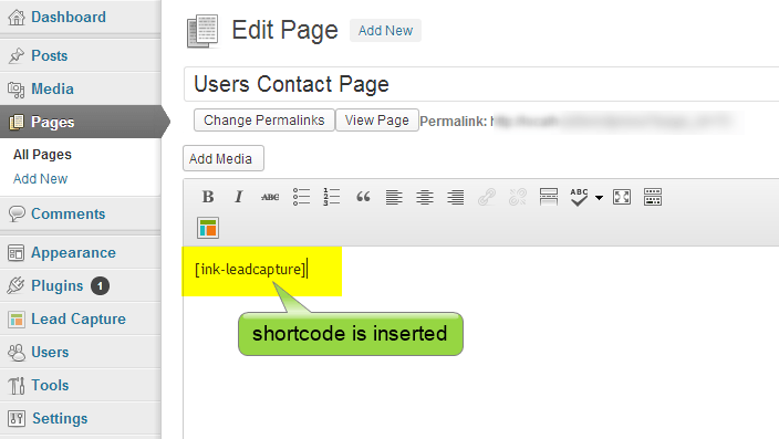shortcode inserted in a page