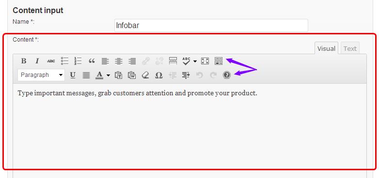 Infobar updated editor