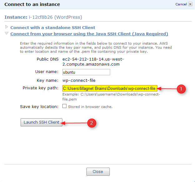 step to enter private key path