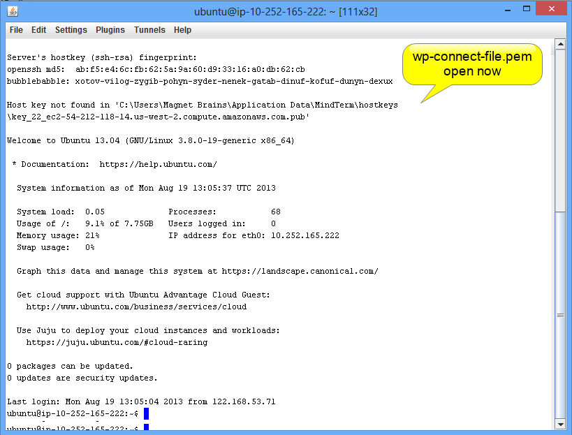 wp-connect-file.pem file is opened now