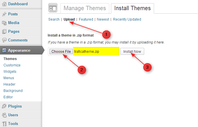 step to install theme