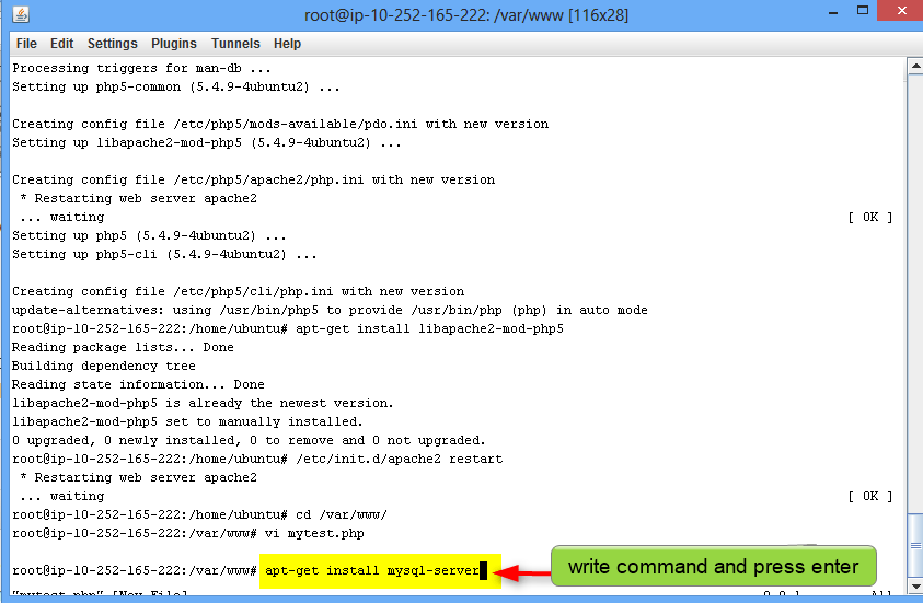 unix command to install mysql