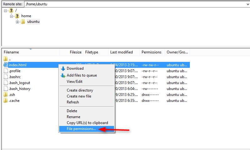 select file permission