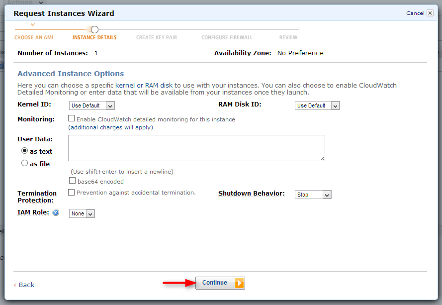 go to continue with default instance details