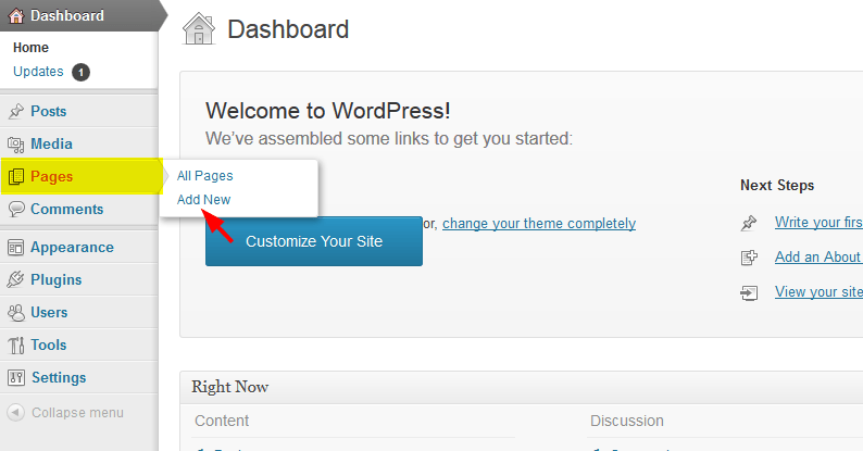 click on add new option