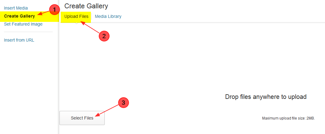 step to upload files in a gallery page