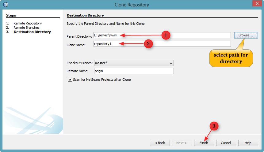 step to select path and click on finish button