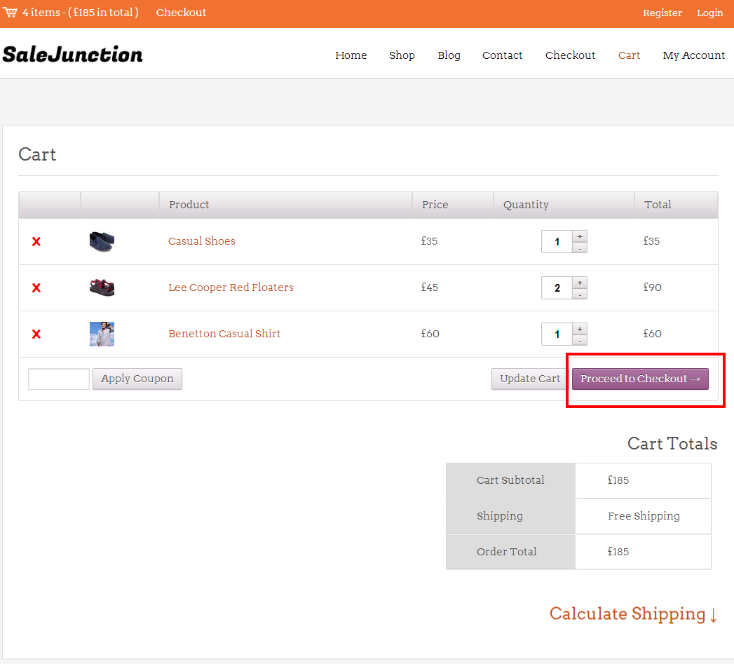 Inkthemes saleJunction cart page.