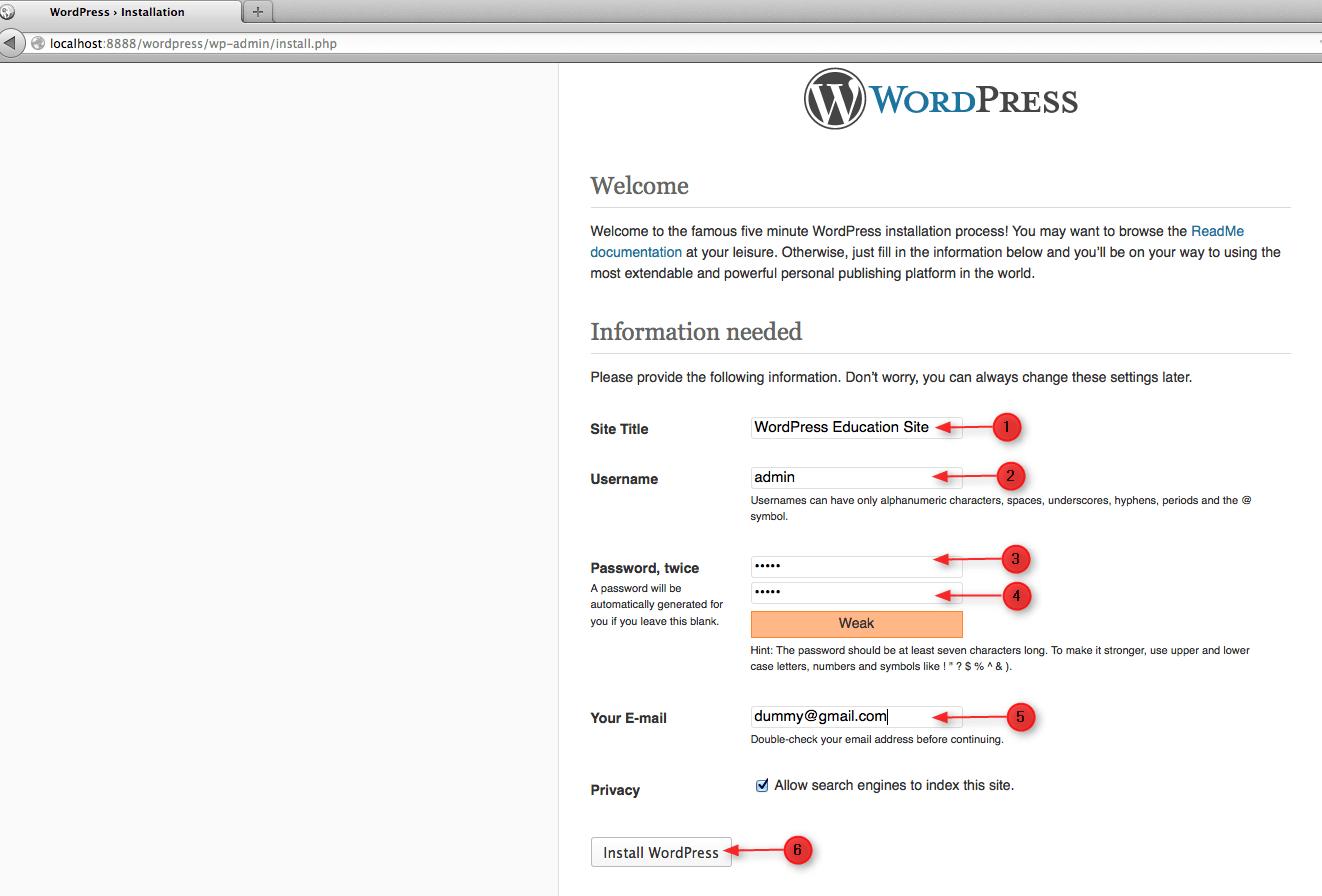 create wordpress site