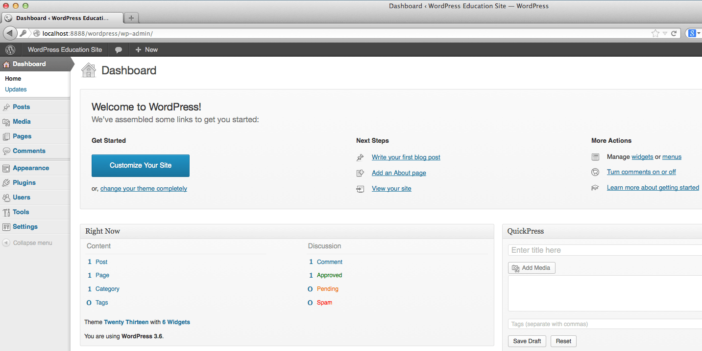 how to get to wordpress dashboard from site