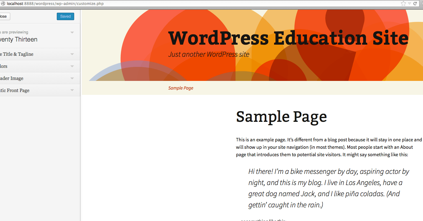 front view of WordPress site