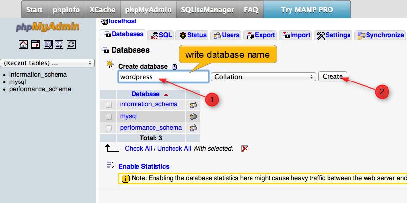 enter database name