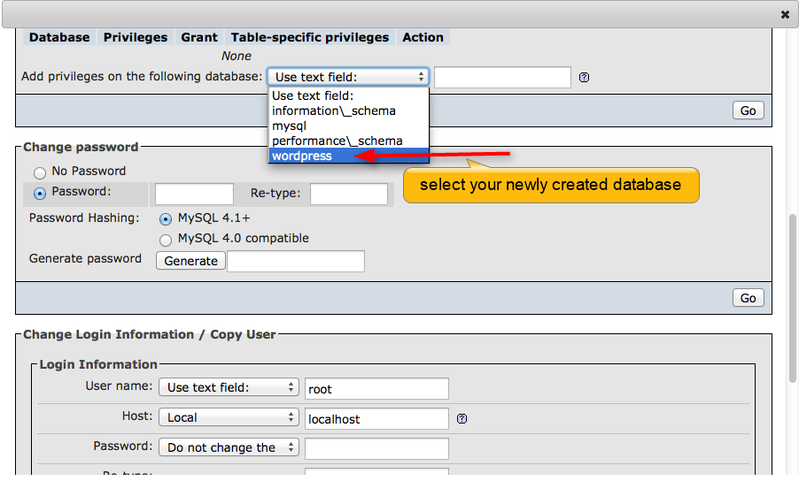 select database from the list