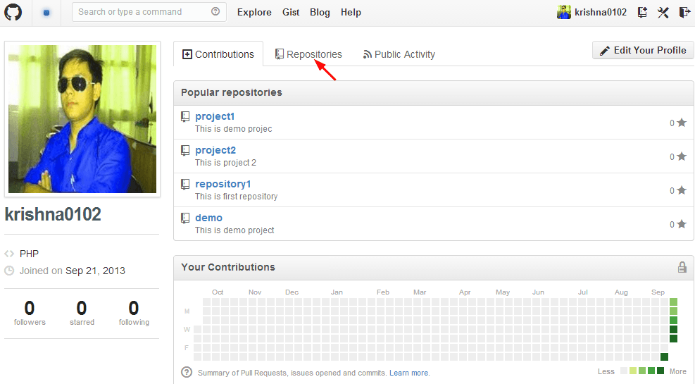step to click on repositories