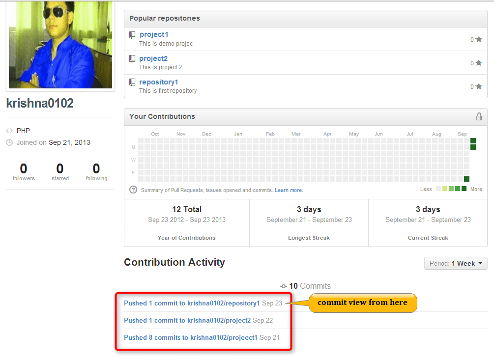 view commit in GitHub account